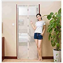 GWQ Magnetic Screen Door,Mesh Bug-Proof Fly Curtain Velcro Frame,Top-To-Bottom Seal Snaps Shuts Automatically For Balcony Sliding Doors,Beige,90*210Cm