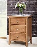 Edward Hopper oak bedside table (3 drawer), ASSEMBLED bedside cabinet, easy glide metal runners