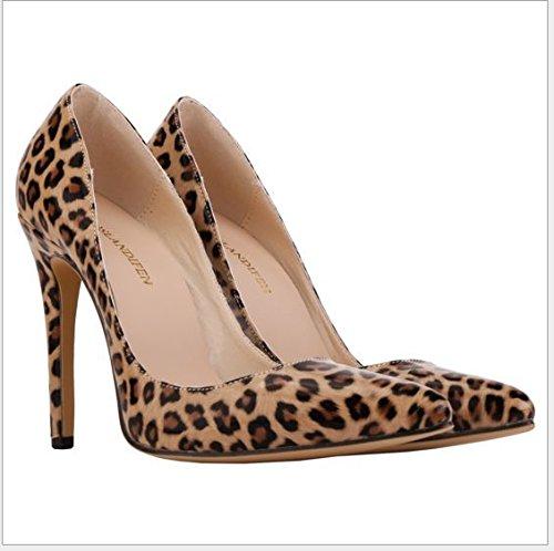 XINJING-S Bowknot High Heels Schuhe Party Hochzeit Frauen Pumps Heels OL Kleidung Schuhe Sandalen Leopard