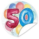 50. Geburtstag Aufkleber | 9,5cm groß | rund | inkl.Alles Gute - Postkarte | Veredeln Sie das Geschenk mit einem tollen Aufkleber
