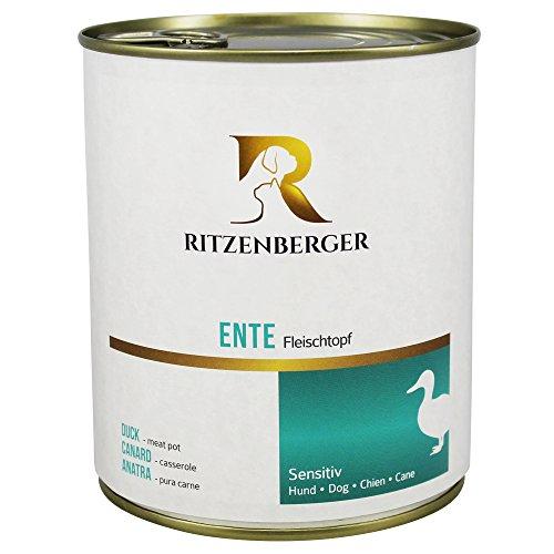Ritzenberger, cibo per cani, anatra - pura carne, 6 x 800g, Sensitiv