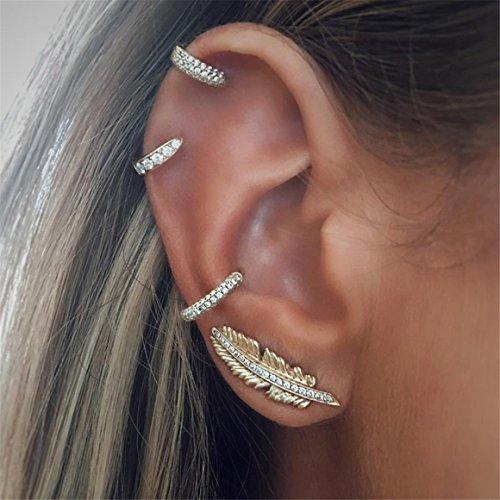 ODN Punk Manschette Ohrringe Set Vintage Feder Ohrklemme Ohrstecker für Frauen