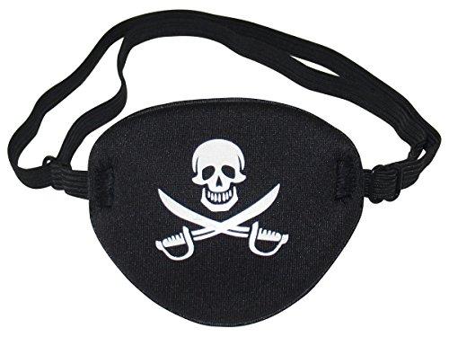 Funny World Herren Piraten Kostüm T-Shirts mit Augenklappe Schwarz