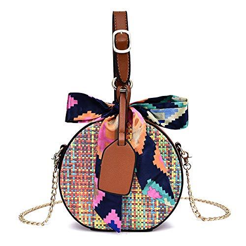 Frauen Top Griff Tasche Runde Straw Bag Kette Umhängetasche Hit Farbe Woven Bag Umhängetasche für Damen (Farbe : Gelb, Größe : 18 * 17 * 7cm) -