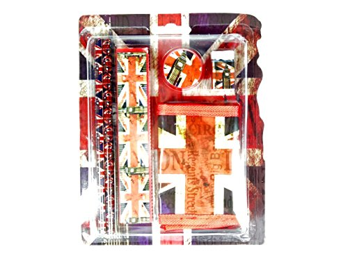 Back To School Geschenk Set-Distressed Union Jack Bedruckt Geschenk Set mit Bleistift, Lineal, Radiergummi und Geldbörse-London Souvenir -