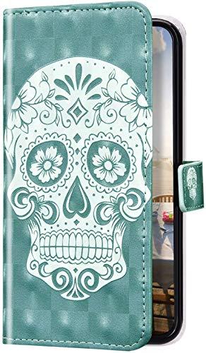 Uposao Kompatibel mit Huawei Honor 7A Hülle Glitzer Bling 3D Bunt Marmor Leder Hülle Flip Schutzhülle Handyhülle Brieftasche Wallet Leder Tasche Case Magnet Ständer Kartenfach,Totenkopf