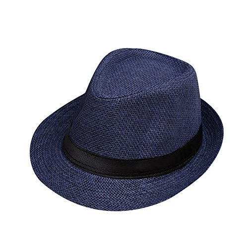 Lonshell Fedora Hut Kinder Mädchen Junge Mode Jazz Panama Mütze Kappe Strand Sonnenhut Faltbarer Trilby Gangster Hut mit Sonnenschutz breite Krempe (H)