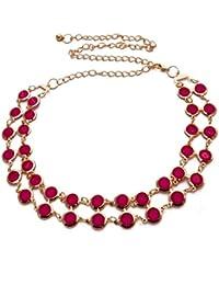 Vritraz New Fashion Style Gold Plated Chain Kamarband Metal Pink Crystal Pearl Rhinestone Waist Belt Waistband...