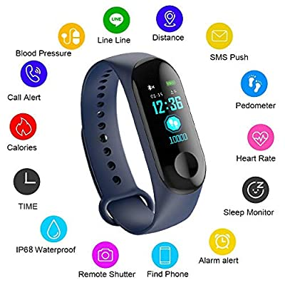 LIGE Smart Fitness Tracker, 0.96 inch Color Screen Heart Rate Blood Pressure Monitoring IP67 Waterproof Sports Bracelet Watch Pedometer Calorie Counter Sleep Monitor Child Man,Women Smart Bracelet by LIGE
