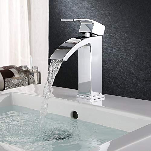 HOMFA Grifo Lavabo con Agua Suave Caliente y Fría para Baño Grifos Baño Monomando Lavabo Brillante...