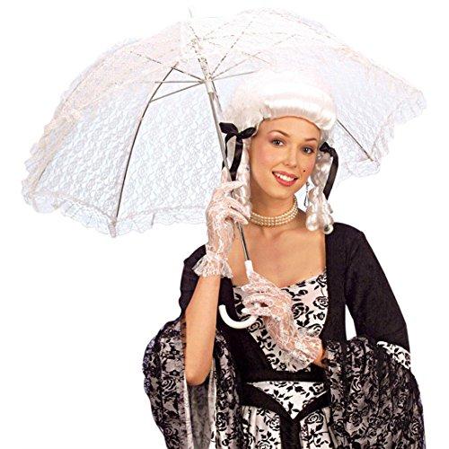 Weisser Spitzen Schirm Barock Spitzenschirm Regenschirm Damenschirm Fasching Karneval Kostüm Zubehör weiß (Regenschirm Kostüm)