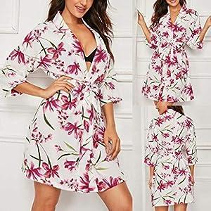Kurze Bademäntel für Damen Leichtgewicht – Kimono-Robe aus Chiffon mit Gürtel – Kurzer Cardigan mit Blumendruck – Vintage-Schlafanzug-Nachtwäsche Weiche Nachtwäsche – Geschenke für die Frau