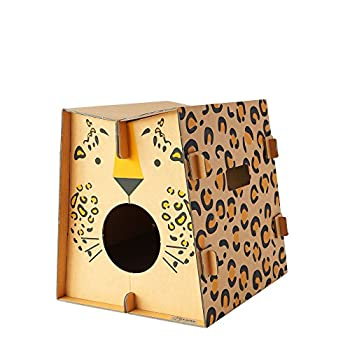 Mobilier de jeu et couchage pour chat design avec griffoir intégré (léopard)