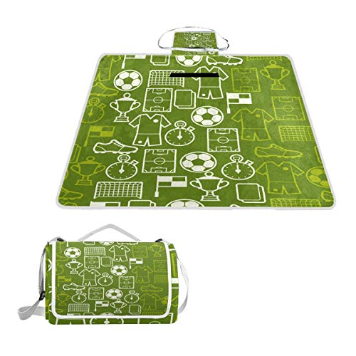 TIZORAX Sport-Fußball-Symbole, Picknickdecke, wasserdicht, Outdoor-Decke, faltbar, für Strand, Camping, Wandern