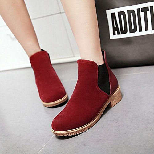 Mee Shoes Damen simpel chunky heels Nubukleder Stiefel Rot