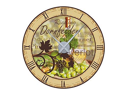 GRAZDesign 801105_SI Wandticker Uhr Wanduhr inkl. Uhrwerk für Küche Spruch Dornfelder Weinflasche (57x57cm//Uhrwerk Silber)