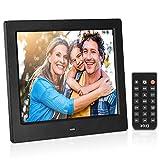 MRQ 8 Inch Digitaler Bilderrahmen, Aktualisierter 1024 x 768 HD 178 Grad IPS 4: 3 Elektronisches Bild Video (1080P) Rahmen mit MP3, E-Book, Kalender, Fernbedienung, USB und SD-Kartensteckplatz