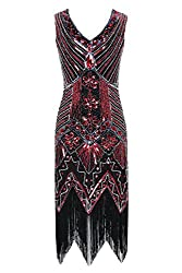 Metme Women's 1920s V Neck Beaded Fringed Gatsby Theme Flapper Dress For Prom (S, Black+red)