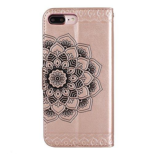 Für iPhone 7 Plus 5.5Zoll Flip PU Leder Brieftasche, Herzzer Klassisch Jahrgang [Mandala Blume Muster] Tasche Handy Case Schutz Hüllen im Bookstyle Handyhülle Ledertasche mit Stand Funktion Kartenfäch Rose Gold