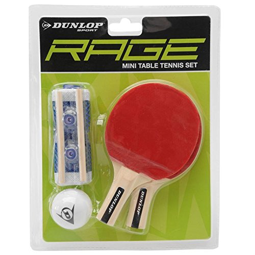 Dunlop Unisex Rage Mini Tischtennis-Set Fledermaus Ball Tablet Top Sport Zubehör (Logo-mini-fledermaus)