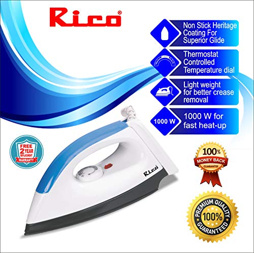 Rico Copper Light Dry Irons Box for Press Clothes Electric 750W Coating (White)