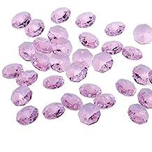 Perline di cristallo allentati, Yier® 14 millimetri di vetro lampadario lampada di sostituzione Suncather prismi a 2 fori Octagon Perlina, Confezione da 100 (rosa) - Ornamento Suncatcher