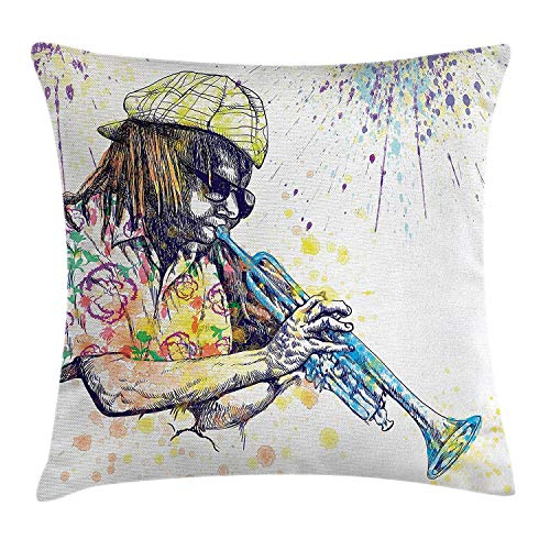 RAINNY Jazz Music Decor Throw Pillow Cushion Cover, Trumpeter with Paint Splashes at The Background Entertainment Vivid Art, Decorative Square Accent Pillow Case, 18 X 18 inches, Purple Yellow Square Pie Iron