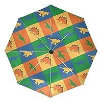 COOSUN Dinosaur Patchwork Automatic 3 Folding Parasol Umbrella