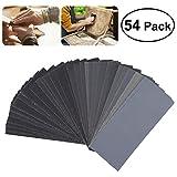 UEETEK 54pcs 60 a 3000 Grit papel de lija Sandpaper Surtido de papel de arena seca para la madera de lijado automotriz