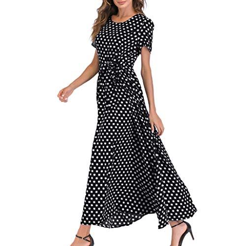 FOUNFME Mode Frauen Tupfen Maxi Kleid Damen Oansatz Kurzarm Strandkleid Weibliches Verbandkleid