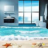 Yosot Benutzerdefinierte 3D Foto Boden Tapete Badezimmer Wohnzimmer Bodenbelag Wandbilder Wasserdicht Verdickt Selbstklebende Tapeten Shell Beach-250Cmx175Cm