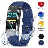 WOWGO Orologio Fitness Tracker, Smartwatch Braccialetto Fitness IP68 Impermeabile Contapassi Activity Tracker con Cronometro Cardiofrequenzimetro Pedometro per Uomo Donna (Blu)