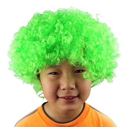 Queenbox Lockiges Haar Perücke Regenbogen Afro Clown Perücke Fußballfan Erwachsenes Kind Kostüm Party Kostüm Halloween Requisiten Weihnachtsfeier ()