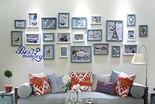 X&L Einfache moderne Holz Foto Wand Sofa kreative Wand Rahmen Frame Kombination Fotowand , elegant blue + white + painting core c - 2