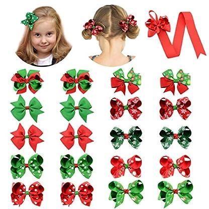 Makone 20 piezas nudo de lazo de Navidad pinzas para el cabello bebés niñas lindas pasadores de horquilla de cinta de grosgrain coloridos (color mixto rojo y verde)