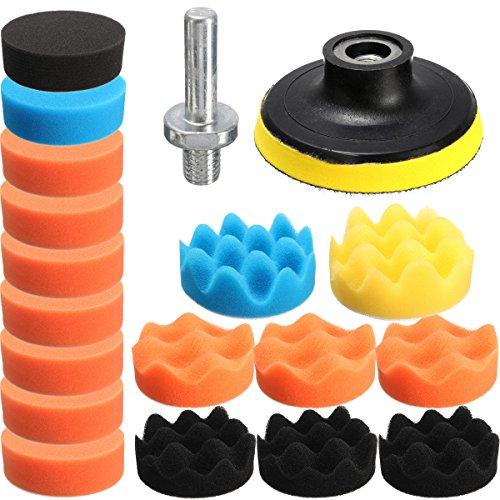 KingLan 19 Pcs 80Mm Flache Schwamm Buff Buffing Pad Polieren Pad Kit Set