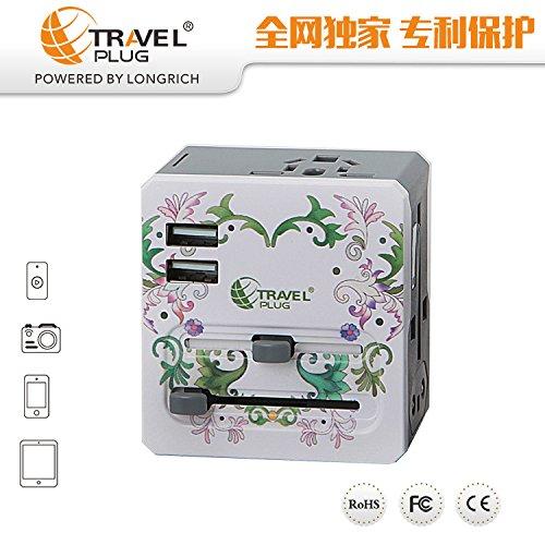 LX7 Universal USB Travel Power Adapter Weltweite Internationale Cube Plug Adapter Für Großbritannien/EU/US/AU Über 150 Ländern Sicherheit Verschmolzen,1 Internationale Ac Power Adapter-kit