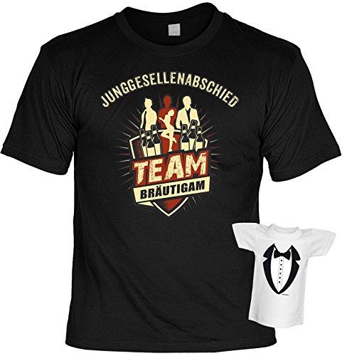 Junggesellenabschied T-Shirt Team Bräutigam Shirt bedruckt Geschenk Set mit Mini Flaschenshirt Schwarz