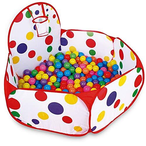 EXQULEG Faltbar Bällebad Ballpool für 1-3 jährige Baby für Indoor Outdoor Baby Laufstall mit Reißverschluss Aufbewahrungsbeutel, Bälle Nicht inbegriffen (120 mit Korb) -