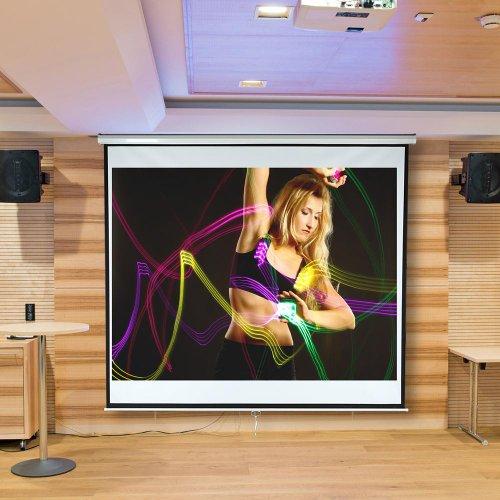 Melko® elektrische Leinwand für Beamer, Heimkino, Büro, Projektoren, 178 x 178 cm, 99 Zoll, ideal für HD-TV mit Motor und Fernbedienung