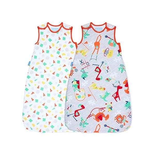 Grobag Pack de 2 Sacos para dormir bebé 1 tog, Multicolor,