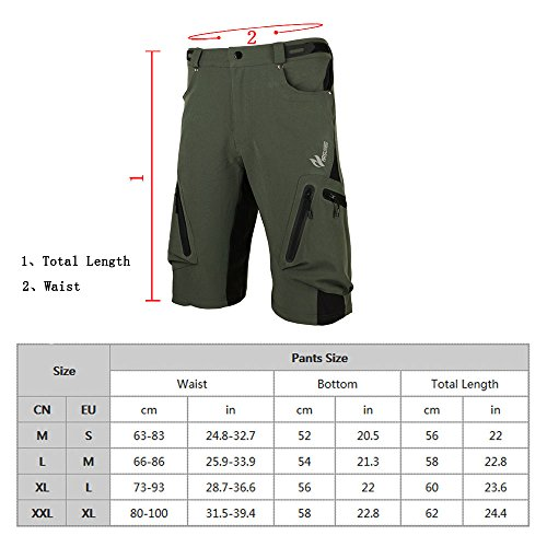 Lixada Baggy Shorts Cycling Bicycle Bike MTB Pants Shorts Breathable Loose Fit Casual Outdoor Cycling Running Clothes Polyamide Lycra with Zippered Pockets