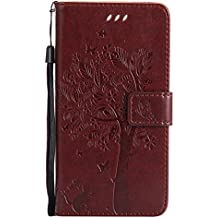 Mokyo Flip Wallet Case for HUAWEI P10 Plus [with Free Stylus Pen],Premium Soft PU Leather Embossed Cat Butterfly Tree Pattern with [Card Slots][Magnetic Closure][Stand Function] Vintage Slim Folio Book Style 360 Protection Cover Shell + Detachable Hand Strap for HUAWEI P10 Plus - Brown
