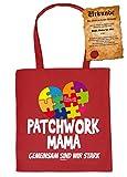 Tasche/Stofftasche/Stoffbeutel lustige Sprüche+Fun-Urkunde: Patchwork Mama gemeinsam sind wir stark - Geschenk/Muttertag/Geburtstag