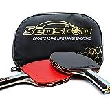 Senston ITTF Set da pipistrello per racchetta da ping pong, paddle da ping pong con 2 pipistrelli (impugnatura per le mani di Shake)