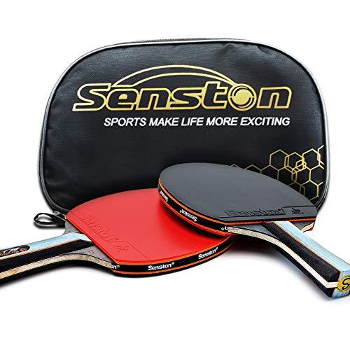 Senston Set de chauves-souris pour raquettes de tennis de table ITTF, Pingpong Paddle avec 2 chauves-souris (Shake Hands Grips)
