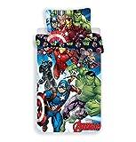 Jerry Fabrics The Avengers CharacterKinderBettwäsche mit ReißverschlussBettbezug und Kissenbezug 70 x 90 cm, Baumwolle, Mehrfarbig, 200 x 140 x 0.5 cm