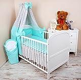 Amilian® Baby Bettwäsche 5tlg Bettset mit Nestchen Kinderbettwäsche Himmel 100x135cm NEU Sternchen grau/Pünktchen Türkis Vollstoffhimmel