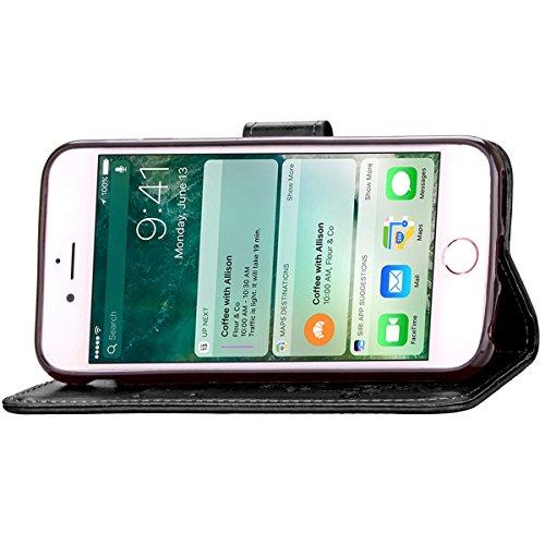 iPhone 7 Hülle, Apple iPhone 7 Hülle, Lifeturt [ Braun ] PU Leder Flip Case im Bookstyle Folio Cover Ledertasche Schutzhülle Case Tasche mit Standfunktion und Karte Halter für Apple iPhone 7 E2-Schwarz