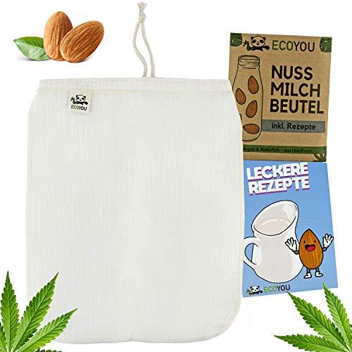 EcoYou Nussmilchbeutel Bio waschbar aus Hanf Veganer Nussmilch Beutel, Weiß, 30 x 25 cm